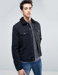 New Look Denim Jacket With Borg Detail In Black Black