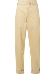 Isabel Marant Belted Chino Trousers Brown