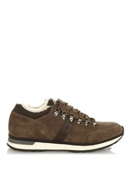 Moncler Shearling Lined Hiking Trainers Grey