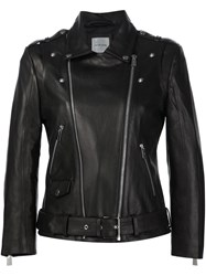 Anine Bing Cropped Moto Jacket Black