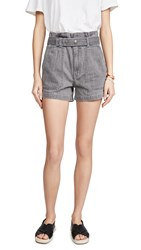 Madewell Paperbag Snap Belted Shorts Pale Grey
