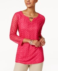 Jm Collection Crochet Lace Keyhole Top Only At Macy's Steel Rose
