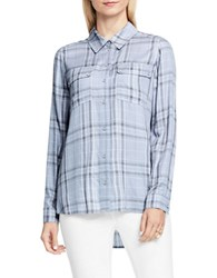 Vince Camuto Wistful Plaid Collared Utility Shirt Winter Sky