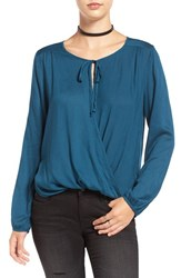 Sun And Shadow Women's Long Sleeve Surplice Top