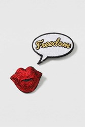 Topshop Speech Bubble And Lips Brooch Red