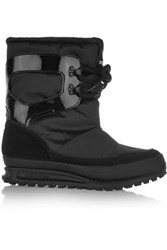 Adidas Originals Snowrush Shell Patent Leather And Suede Snow Boots Black