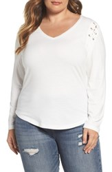Rebel Wilson X Angels Plus Size Women's Lace Up Shoulder Fitted Tee Blanc