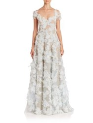 Marchesa Ostrich Feather Gown Pale Blue