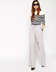 Asos Wide Leg Trouser With D Ring Grey