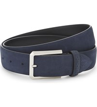 Canali Solid Suede Belt Navy