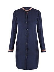 Jupe By Jackie Ribe Embroidered Silk Twill Top Navy