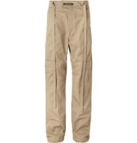 Fear Of God Belted Pleated Cotton Twill Cargo Trousers Neutrals