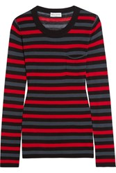 Sonia Rykiel Striped Cotton And Silk Blend Jersey Top Red