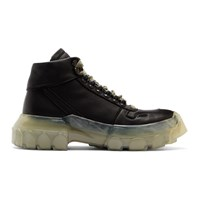 Rick Owens Black And Transparent Tractor Boots