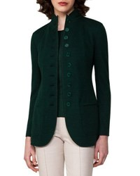 Akris Cashmere Jersey Button Front Jacket Forest