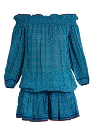 Talitha Off The Shoulder Silk Cover Up Blue Multi