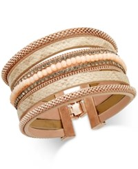 Inc International Concepts Rose Gold Tone Wide Faux Leather Beaded Bracelet Only At Macy's