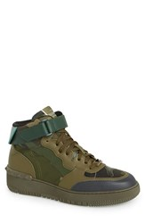 Men's Valentino High Top Sneaker Dark Green Brush Camo