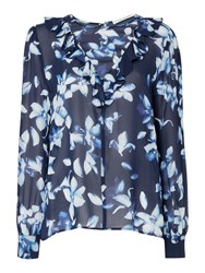 Ivy And Oak Long Bell Sleeve Floral Printed Chiffon Blouse Midnight Blue