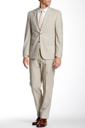 Vince Camuto Tan Glen Plaid Two Button Notch Lapel Wool Suit