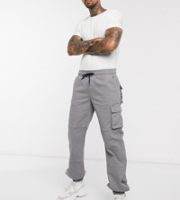 Heart And Dagger Cargo Trousers In Washed Grey