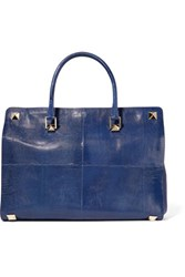 Valentino Leather Trimmed Lizard Tote Royal Blue
