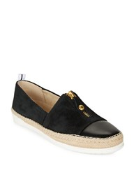 Anne Klein Suede And Leather Espadrille Slip Ons Black