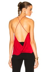 Dion Lee Satin Fine Line Cami Top In Red