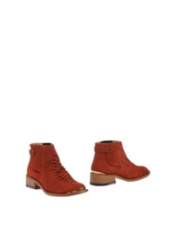 Purified Ankle Boots Brick Red