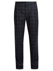 Etro Printed Stretch Cotton Trousers Navy Multi