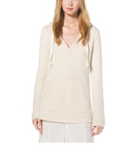 Michael Kors Silk And Wool Terry Baja Hoodie Vanilla