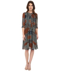 Kut From The Kloth Chloe Dress Orange Teal Women's Dress Green