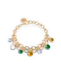 Rebecca Hollywood Stone Yellow Gold Over Bronze Chains Bracelet W Hydrothermal Stones Multicolor