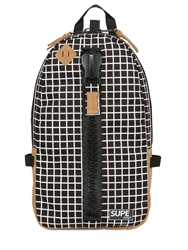 Supe Design Checked Techno Canvas Backpack Black White
