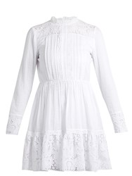 Valentino High Neck Cotton Blend Lace Mini Dress White
