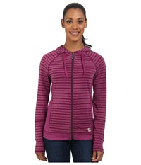 Carhartt Force Zip Front Hoodie Striped Magenta Heather Stripe Women's Sweatshirt Pink