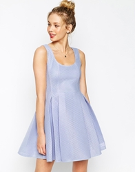 Asos Prom Skater Dress In Structured Mesh Blue