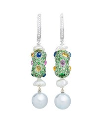 Margot Mckinney Jewelry Linear Sapphire Diamond And Baroque Pearl Drop Earrings In 18K White Gold