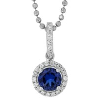 Jools By Jenny Brown Sterling Silver Cubic Zirconia Round Pendant Saphire