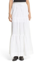 Dkny Tiered Drawstring Maxi Skirt White