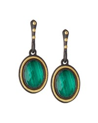 Armenta Malachite Blue Topaz Rope Bezel Drop Earrings Green