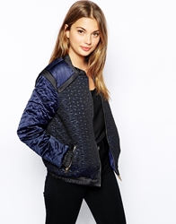 See U Soon Bomber Jacket With Metallic Quilting Effect Blue