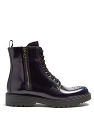Prada Lace Up Leather Brogue Ankle Boots Navy
