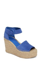 Marc Fisher Women's Ltd Alida Espadrille Platform Wedge Blue Suede