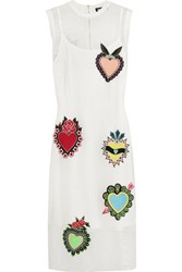 House Of Holland Ribbed Jersey Trimmed Appliqued Mesh Dress White