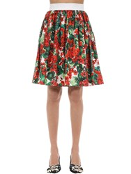Dolce And Gabbana Printed Cotton Poplin A Line Skirt Red