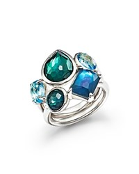 Ippolita Sterling Silver Rock Candy Wonderland Multi Stone Ring In Merino Silver Blue