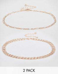 Asos Pack Of Two Fine Chain Choker Necklaces Rose Gold