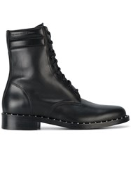 Off White Leather Combat Studded Boots Leather Black