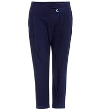 Ag Jeans Wren Cropped Cotton Trousers Blue